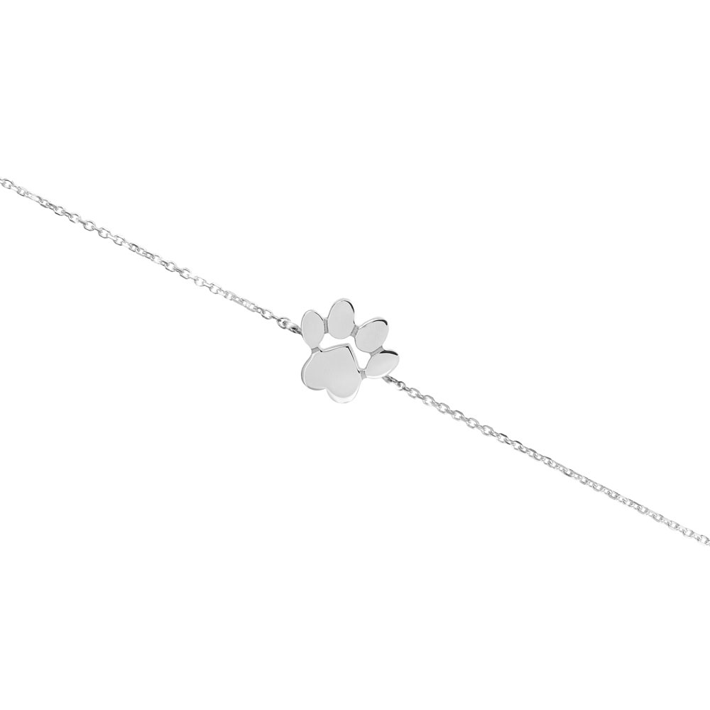 a paw print charm in white gold