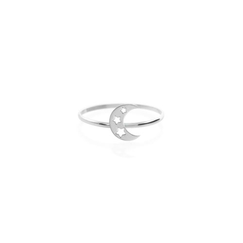 Crescent Moon with Stars Ring in White Gold