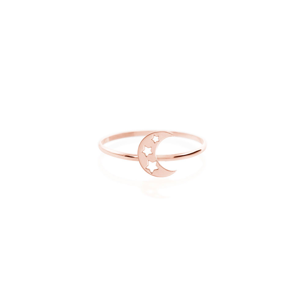 Crescent Moon with Stars Ring in Rose Gold