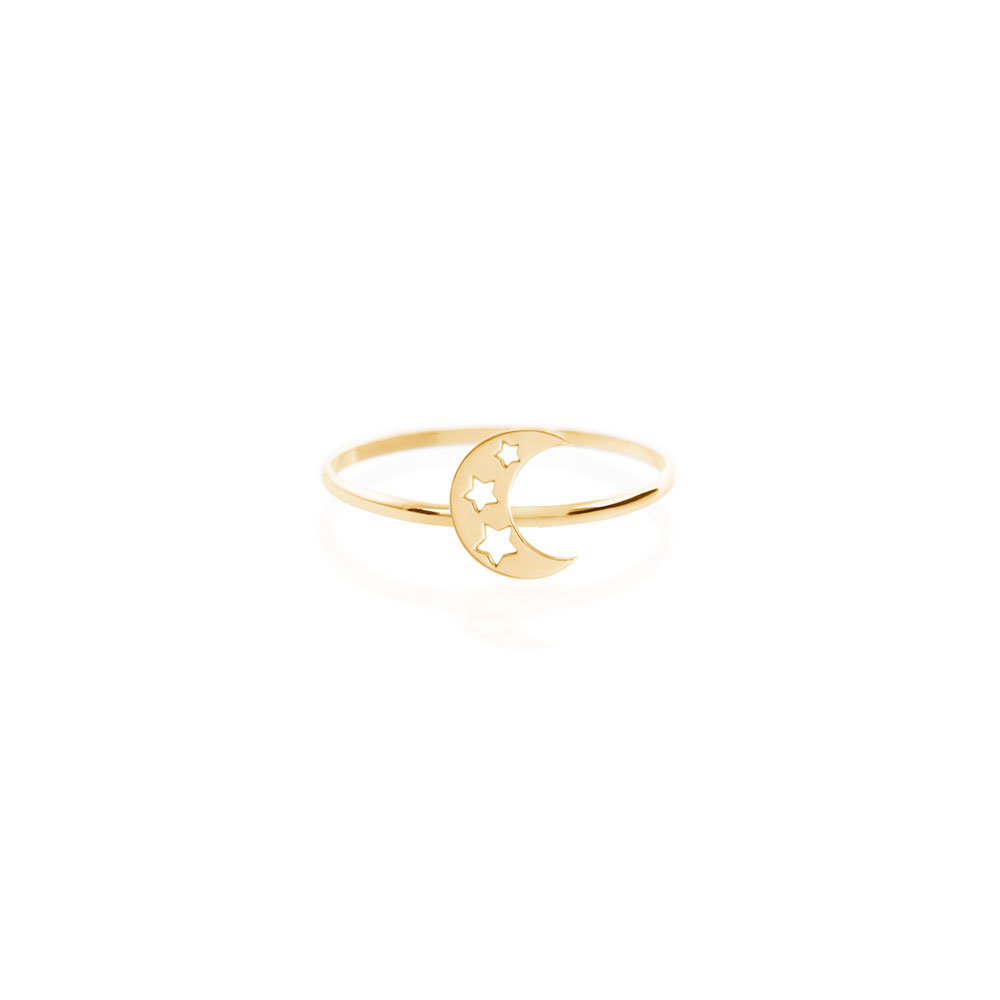 Crescent Moon with Stars Ring in Yellow Gold