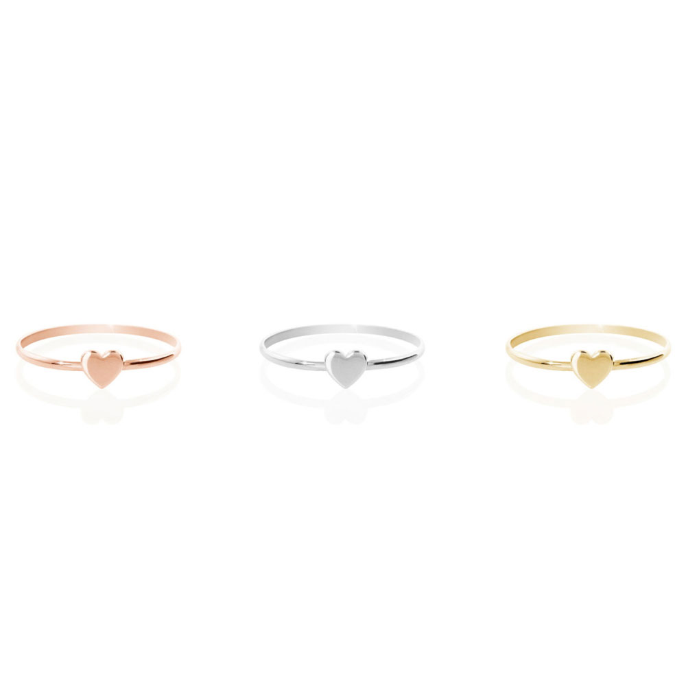 all 3 gold options of the ring with a tiny heart