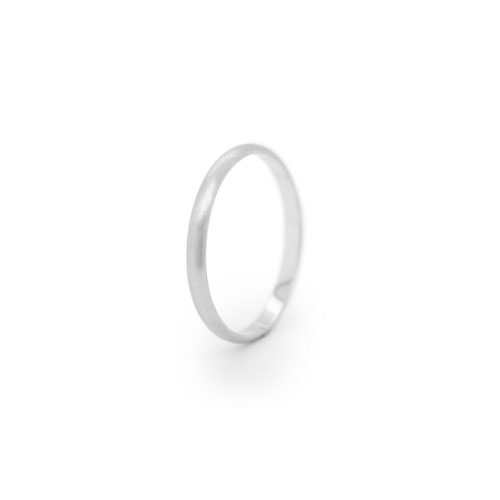 Simple Thin Wedding Band in White Gold with a Smooth Satin Finish