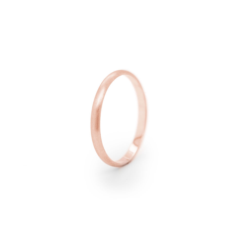Simple Thin Wedding Band in Rose Gold with a Smooth Satin Finish