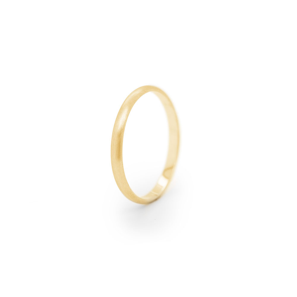 Simple Thin Wedding Band in Yellow Gold with a Smooth Satin Finish