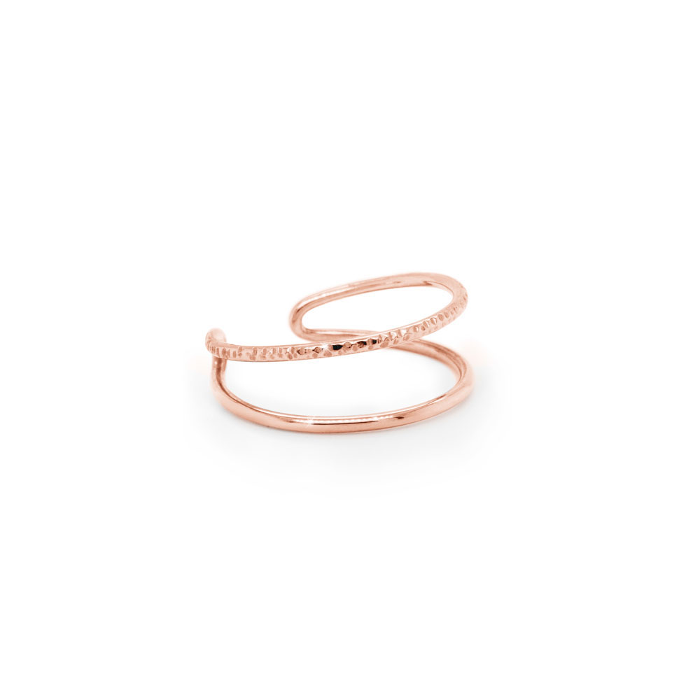 Double Band Ring in Solid Gold, Half Polished-Half Textured In Rose Gold