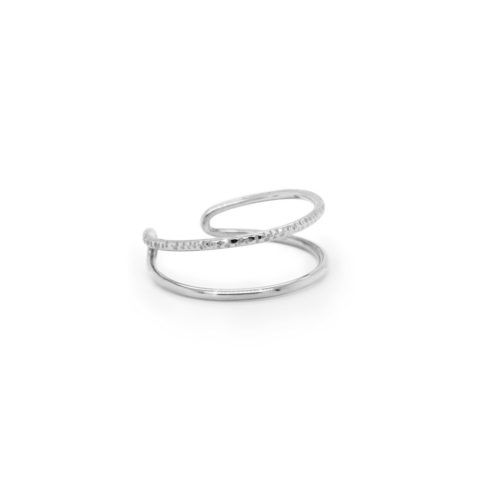 Double Band Ring in Solid Gold, Half Polished-Half Textured In White Gold