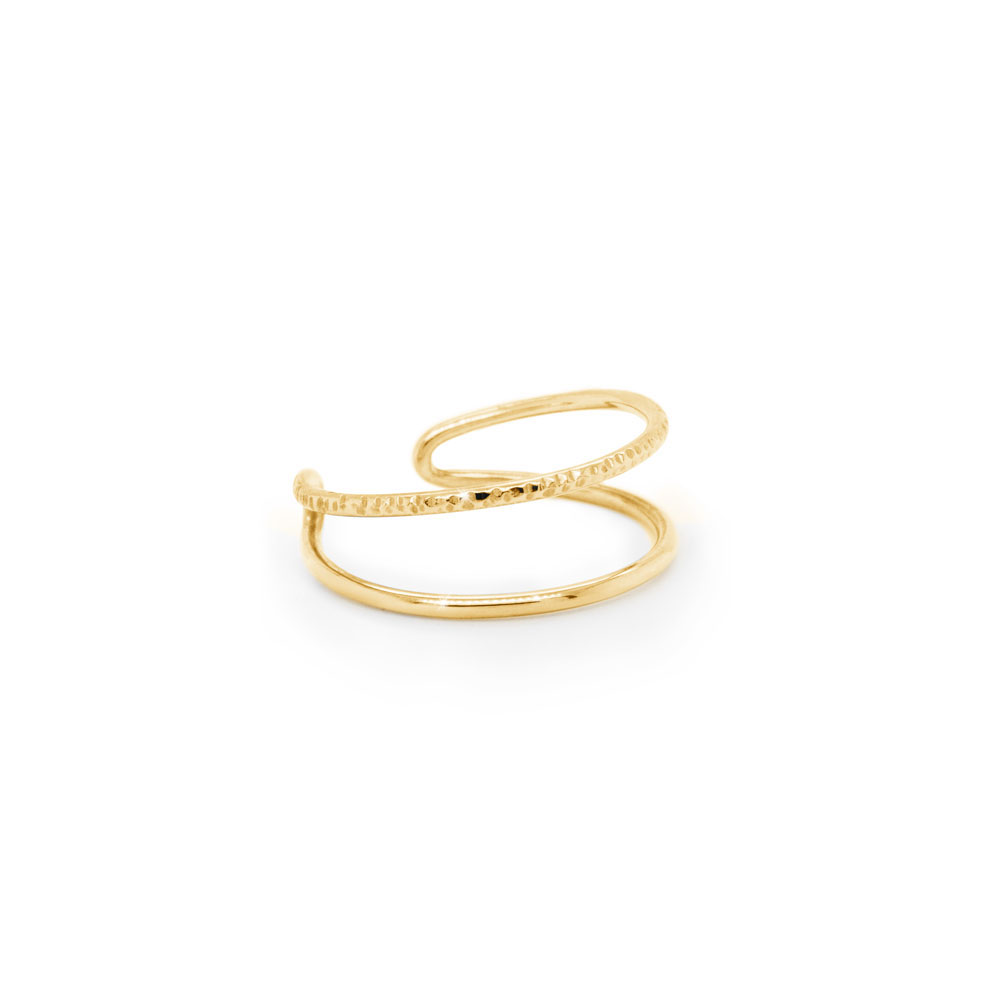 Double Band Ring in Solid Gold, Half Polished-Half Textured In Yellow Gold