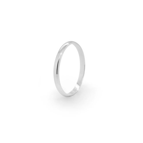 Thin Gold Wedding Band with a Polished Finish In White Gold