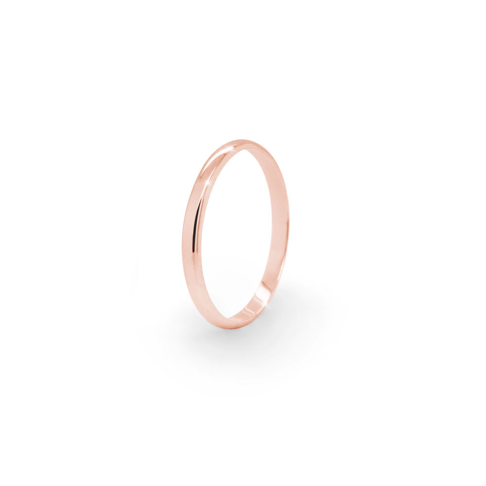 Thin Gold Wedding Band with a Polished Finish In Rose Gold
