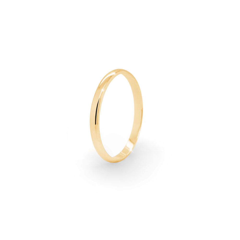Thin Gold Wedding Band with a Polished Finish In Yellow Gold