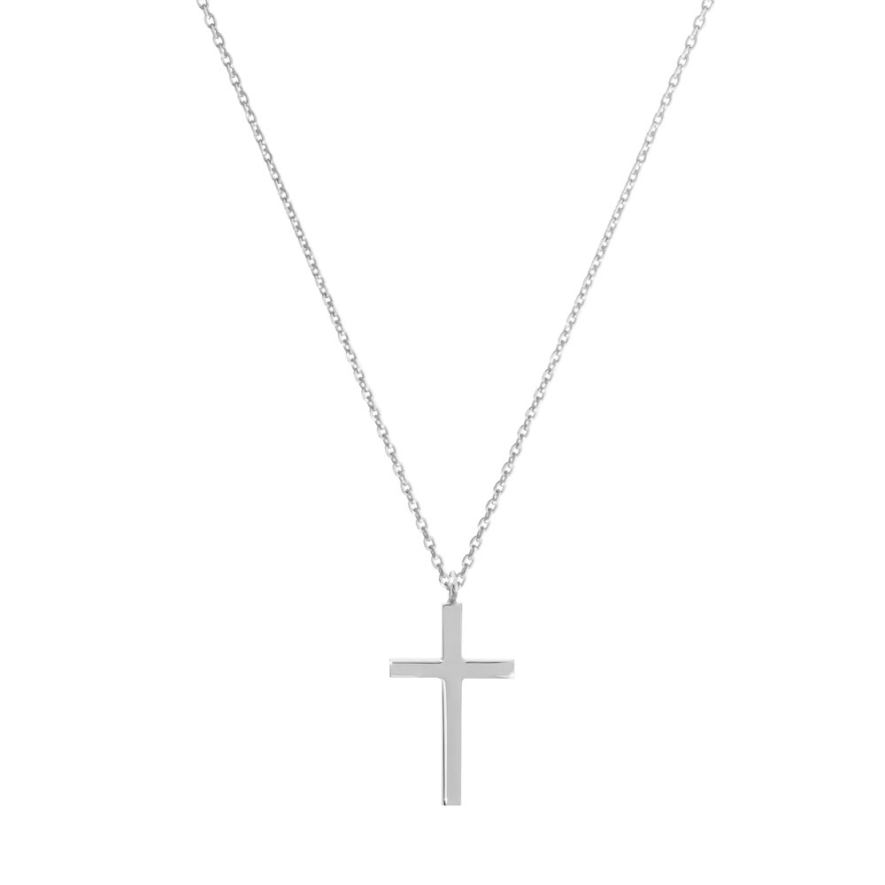 a small thin cross pendant necklace in white gold
