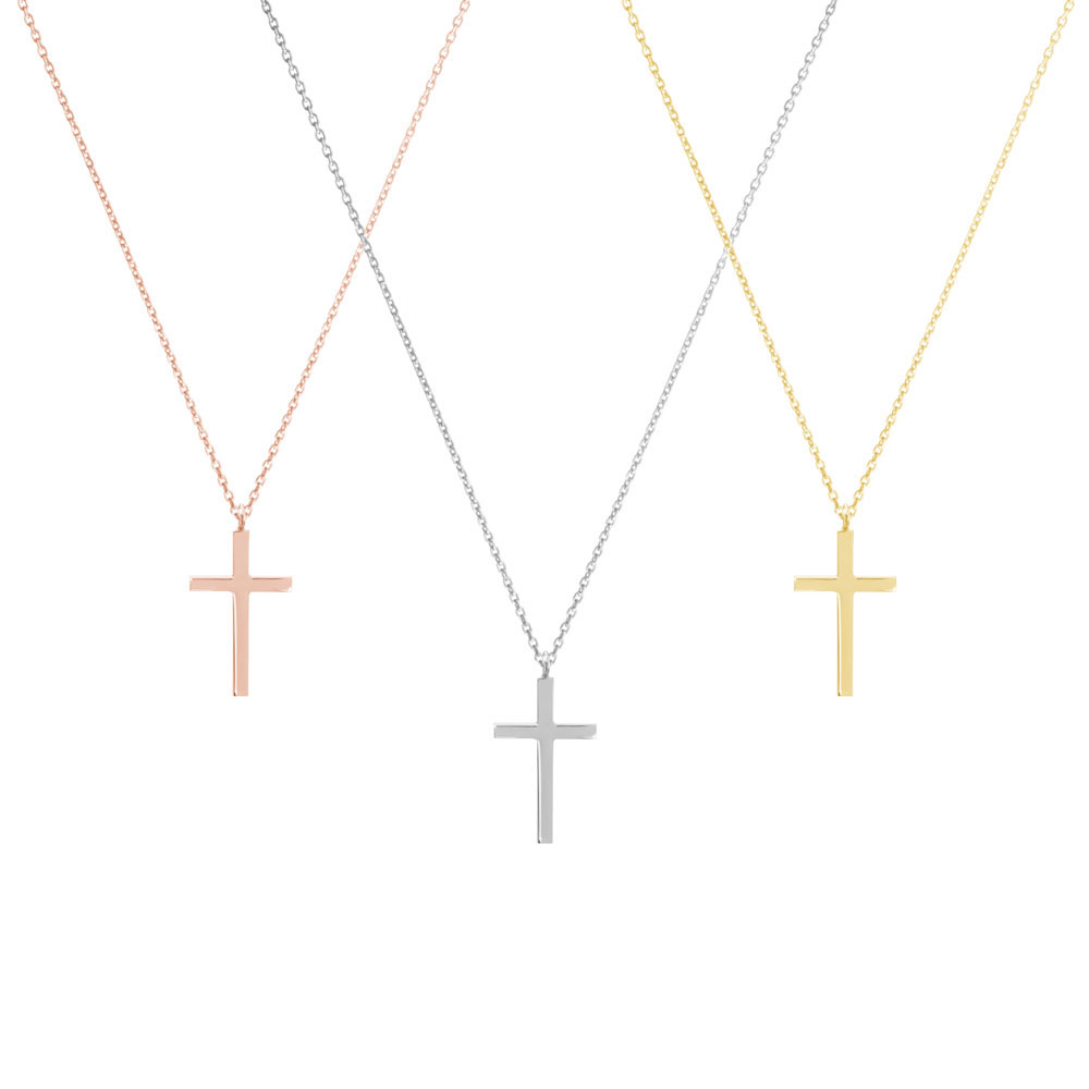 all 3 gold options of the small thin cross pendant necklace