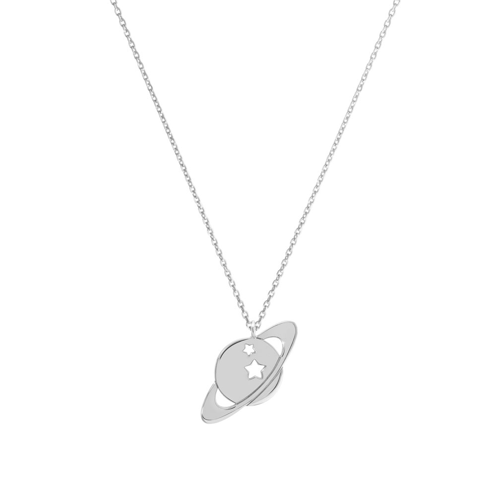 A Saturn pendant necklace in white gold
