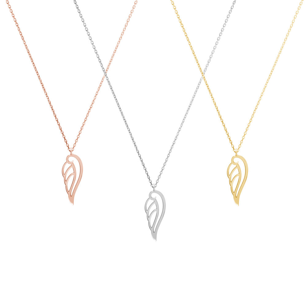 All 3 options of the Angel wing pendant necklace