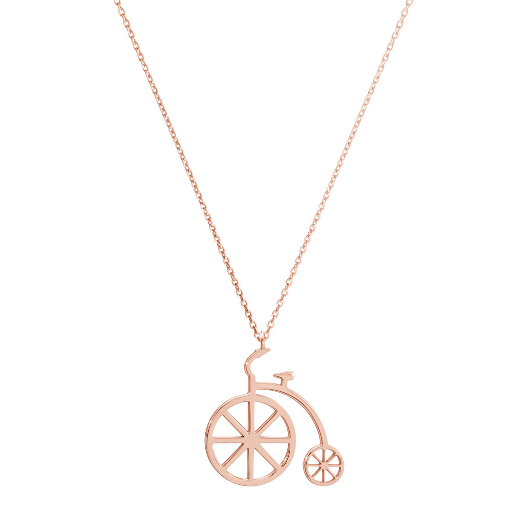 Vintage bicycle pendant in rose gold