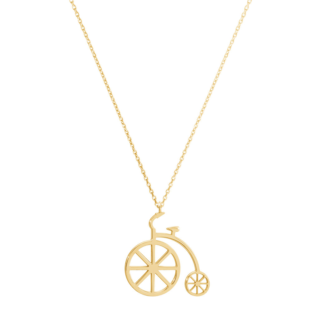 Vintage bicycle pendant in yellow gold
