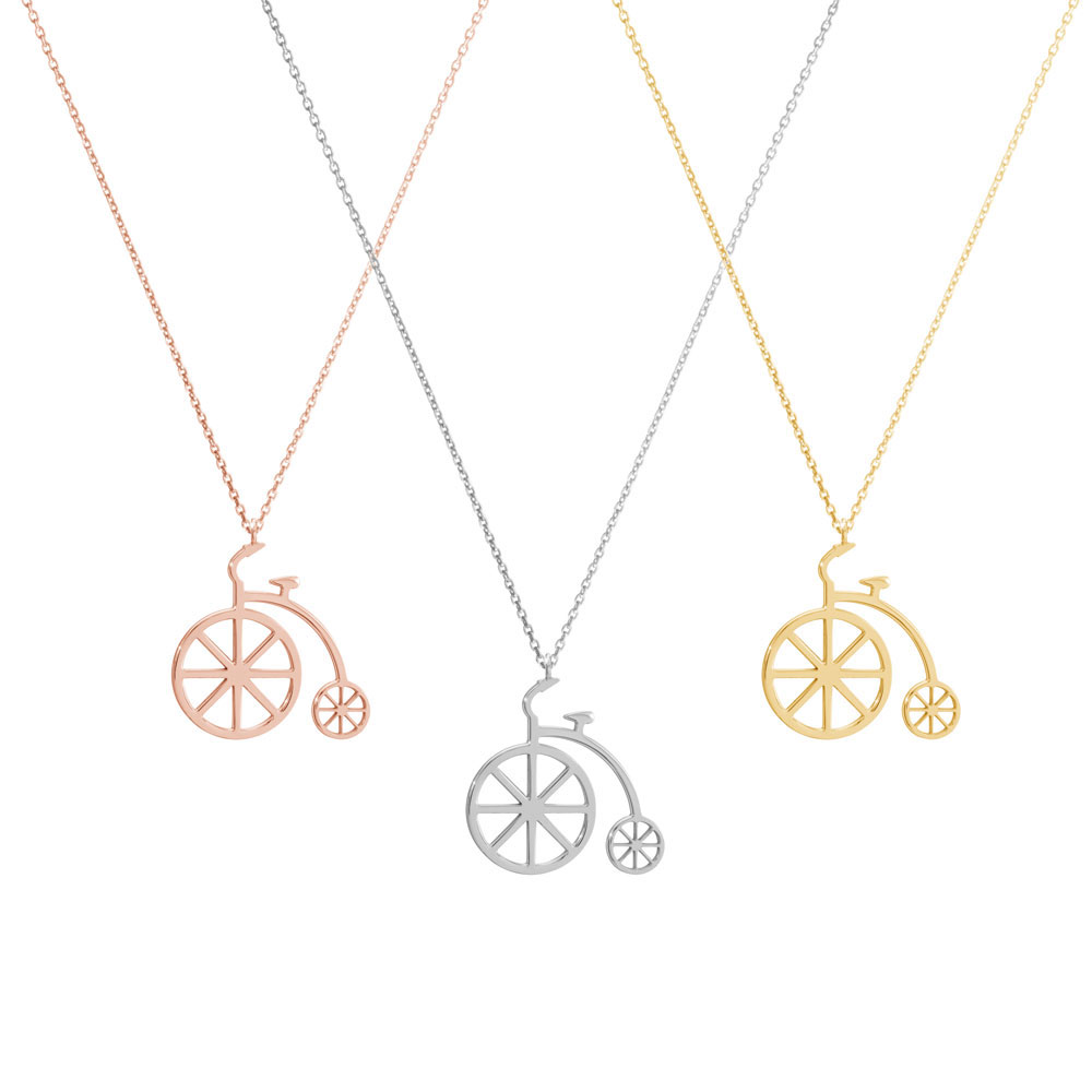 A picture of the 3 colour options for the vitange bicycle pendant