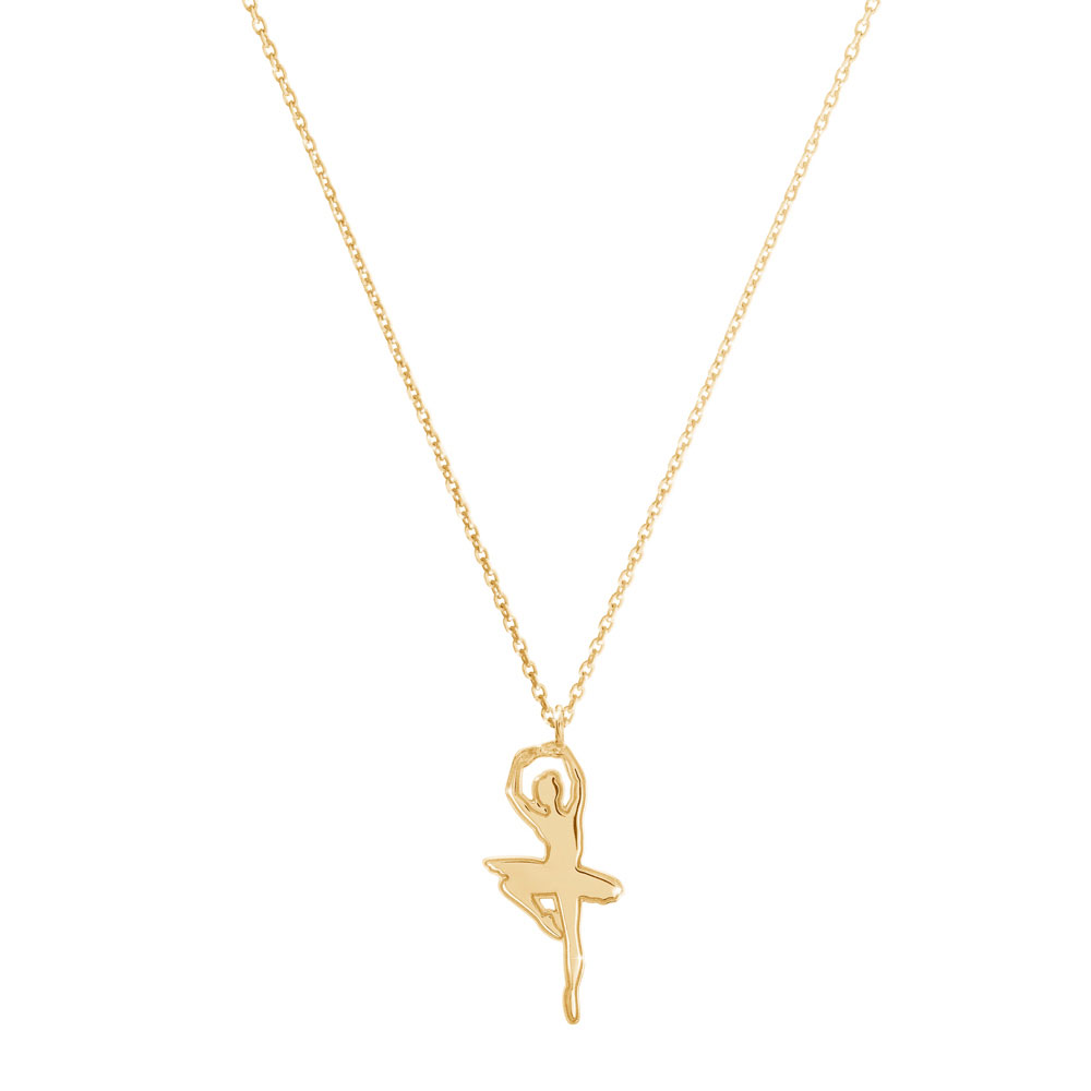 a ballet dancer necklace in yellow gold