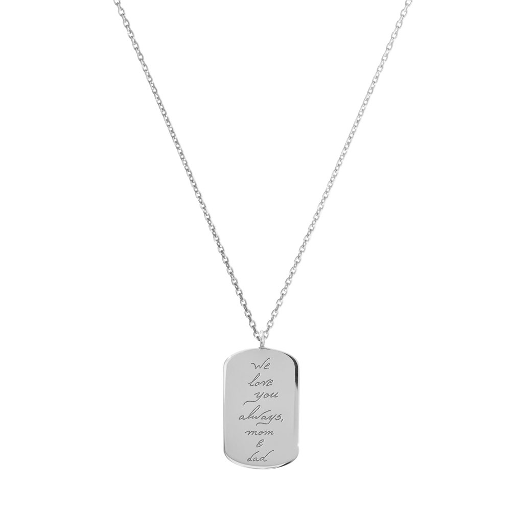An ID Pendant with an engraved personal message in white gold