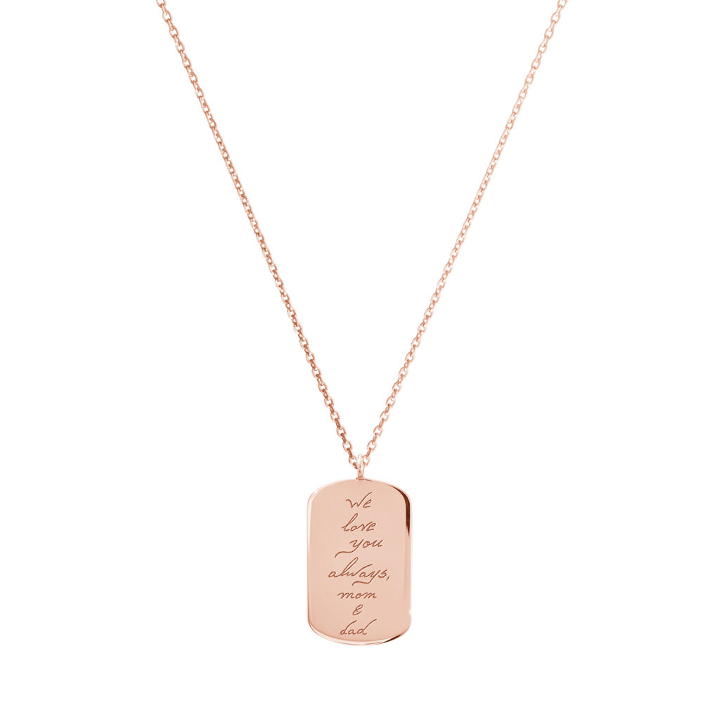 An ID Pendant with an engraved personal message in rose gold