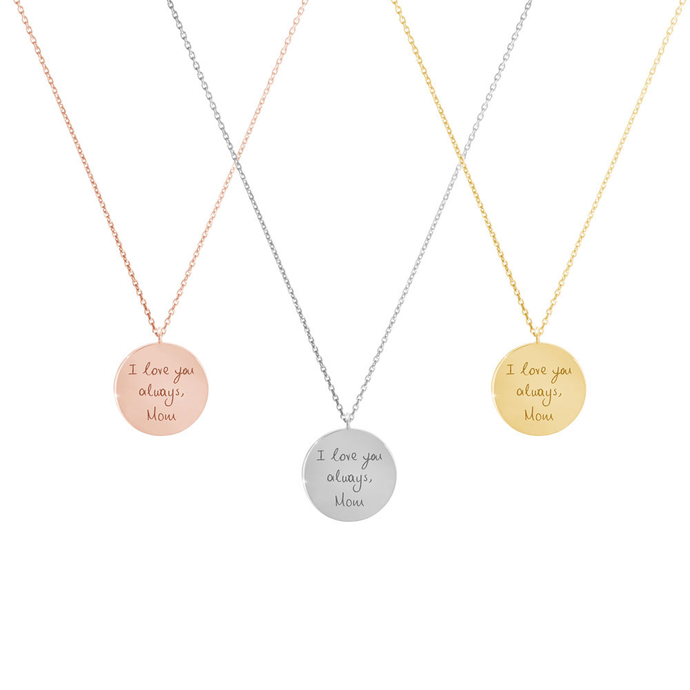 A picture of the 3 colour options for the small engraved necklace