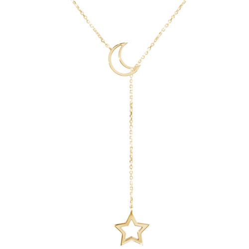 Lariat style necklace with a moon and a star in yellow gold