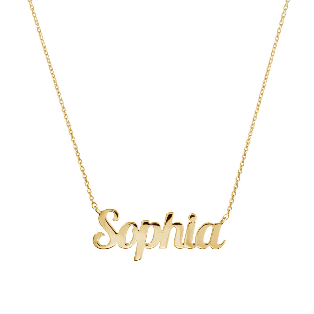 a custom name necklace in yellow gold