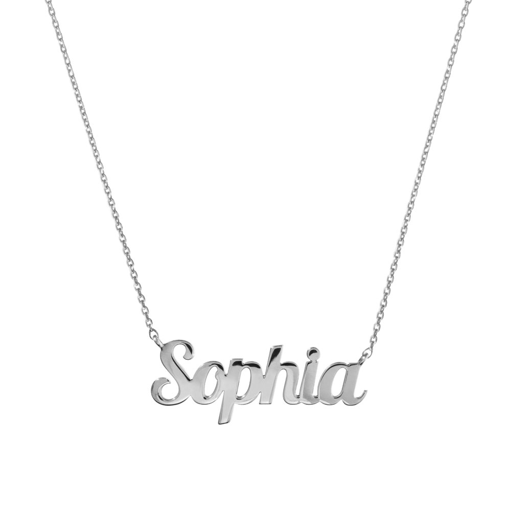 a custom name necklace in white gold