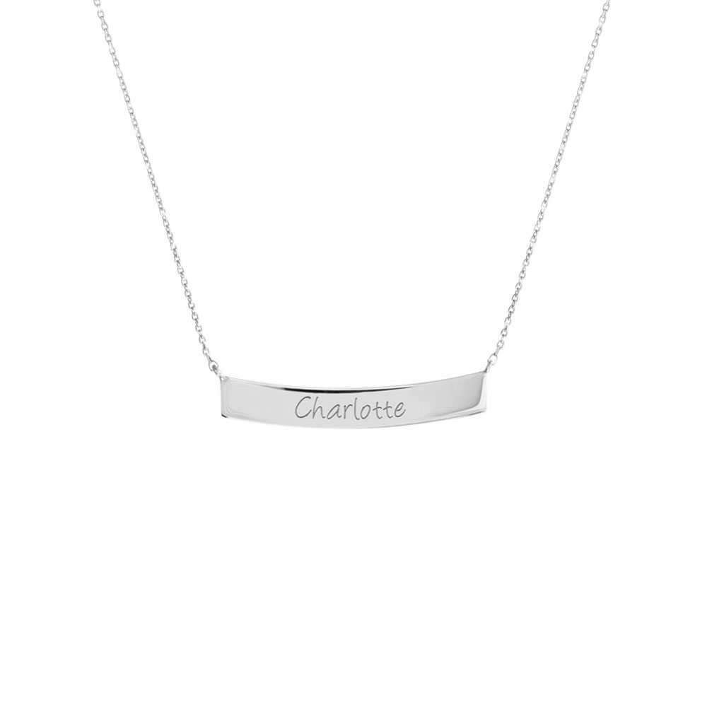 Gold Curved Bar Necklace with Custom-Engraving In White Gold