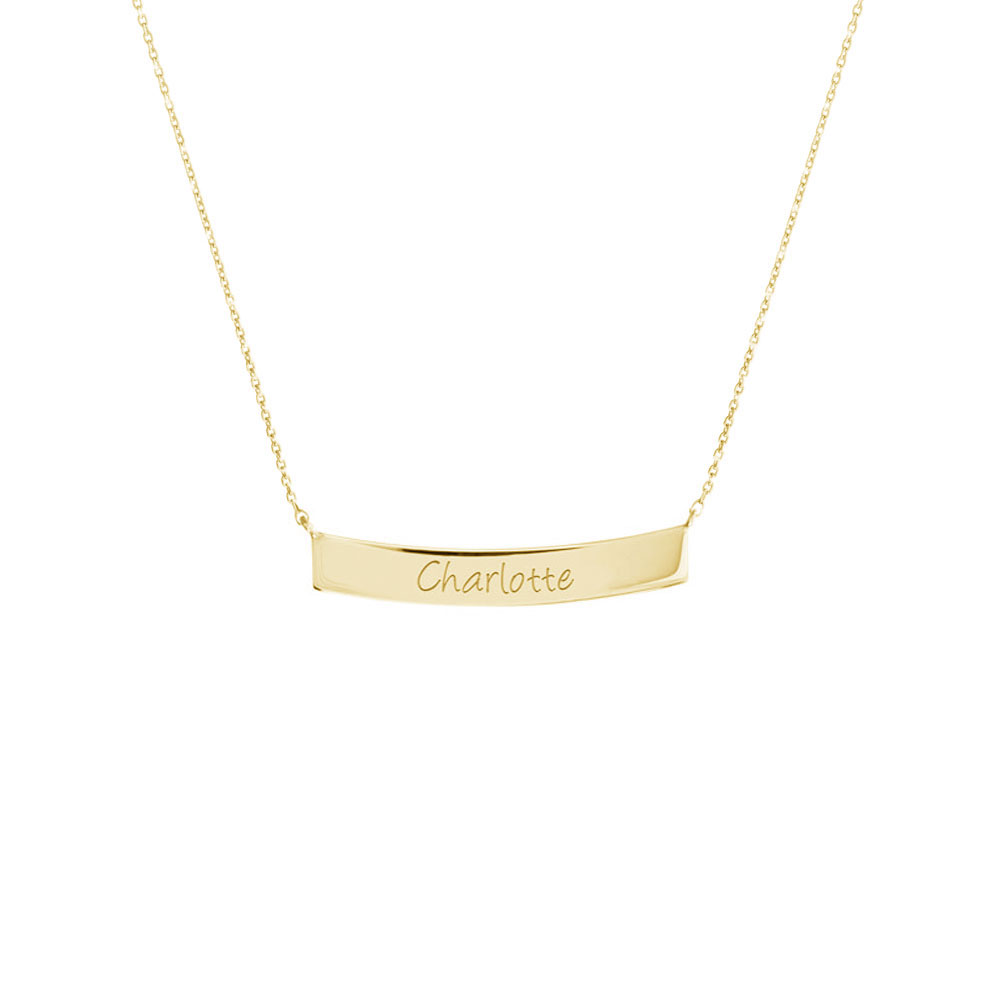 Gold Curved Bar Necklace with Custom-Engraving In Yellow Gold