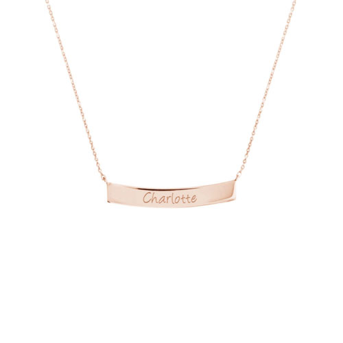 Gold Curved Bar Necklace with Custom-Engraving In Rose Gold