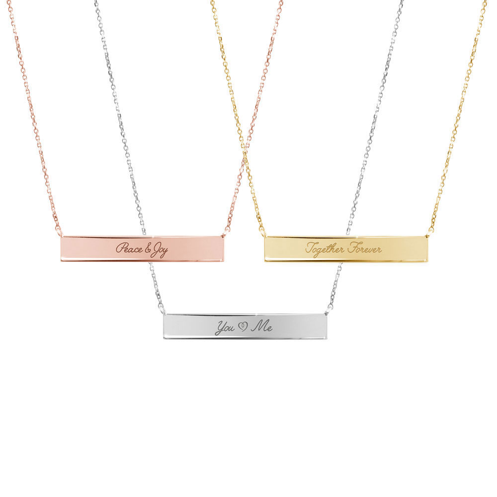 All Three Options Of The Inspirational Engraving, Gold Bar Necklace