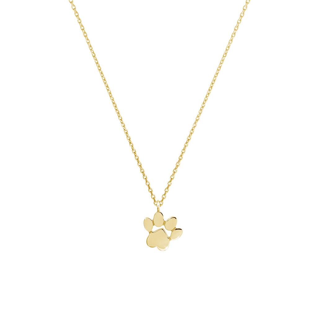 paw pendant necklace in yellow gold