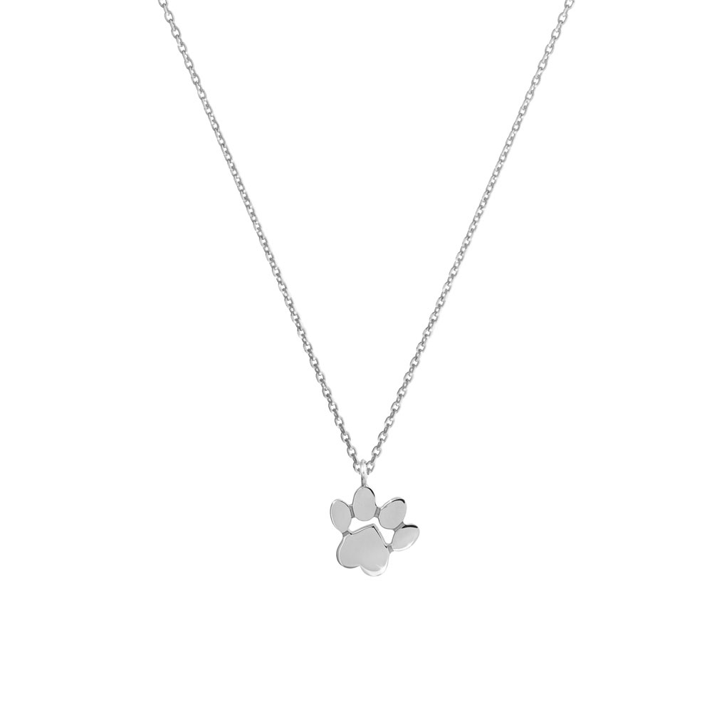 paw pendant necklace in white gold