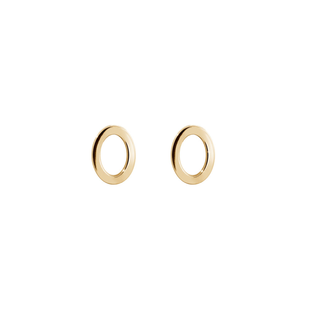 Simple Circle Stud Earrings In Yellow Gold