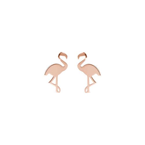 Dainty Flamingo Stud Earrings in Rose Gold