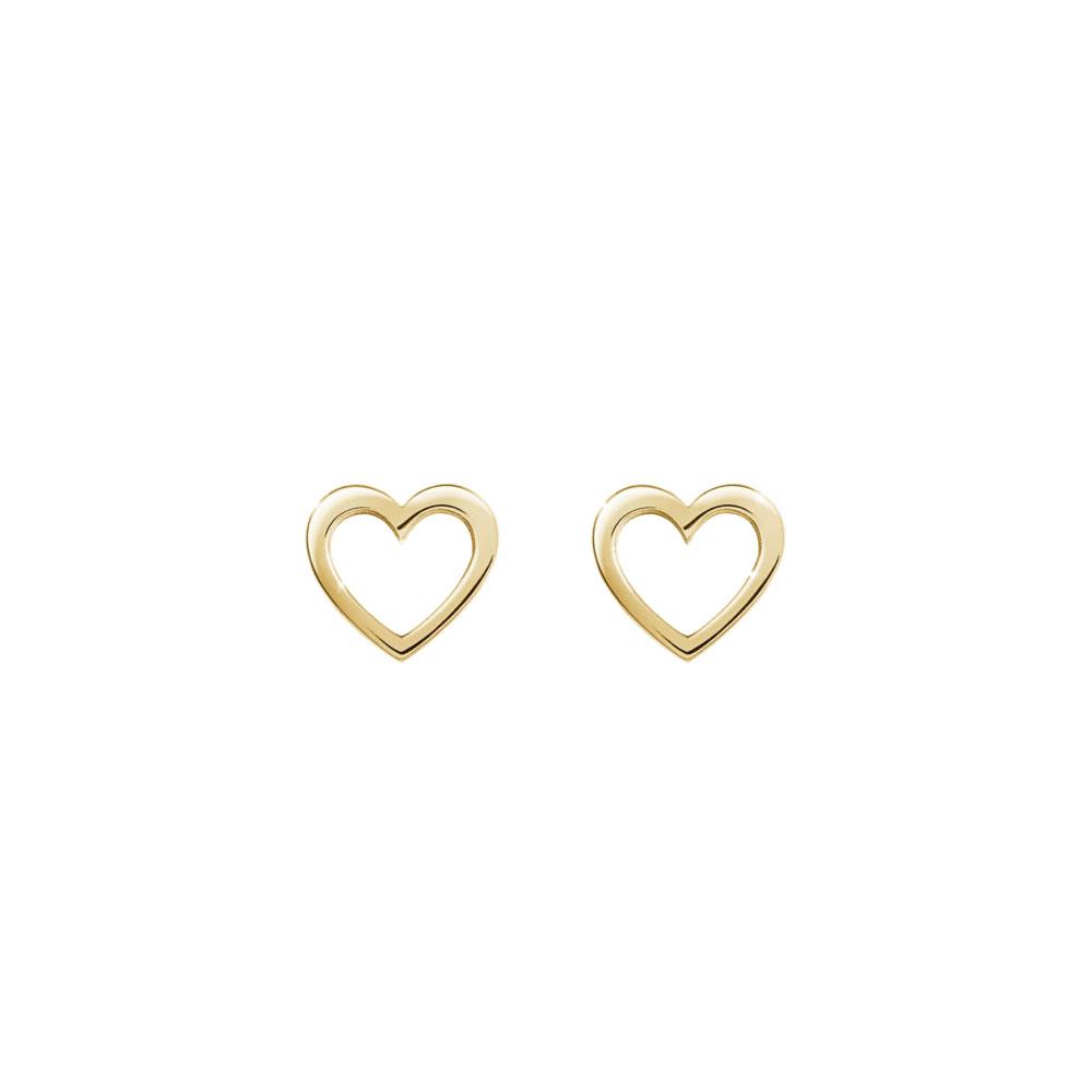 Mini Gold Heart Stud Earrings In Yellow Gold