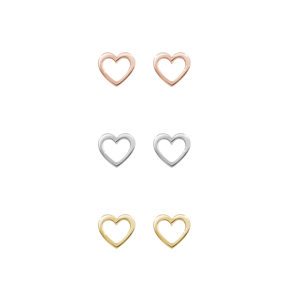 All Three Options Of The Mini Gold Heart Stud Earrings