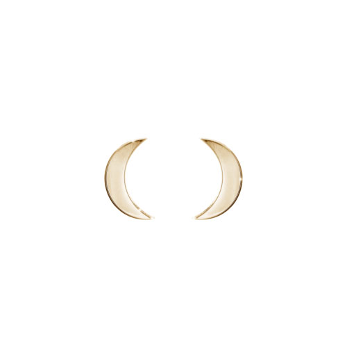 Small Crescent Moon Stud Earrings in Yellow Gold