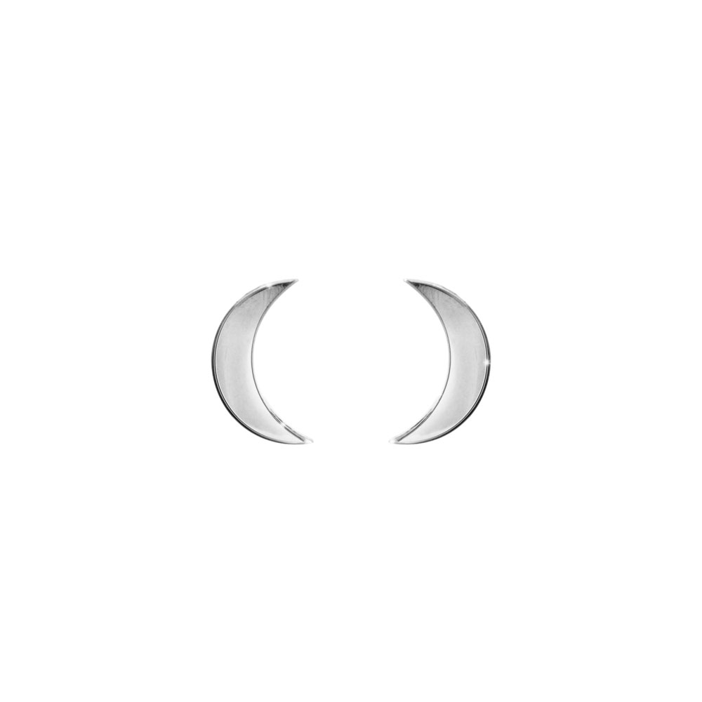 Small Crescent Moon Stud Earrings in White Gold
