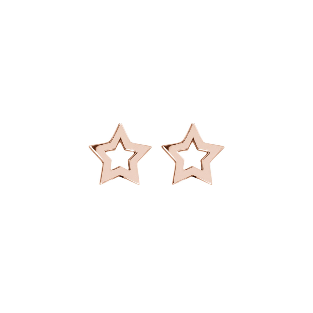 Dainty Star Studs in Rose Gold