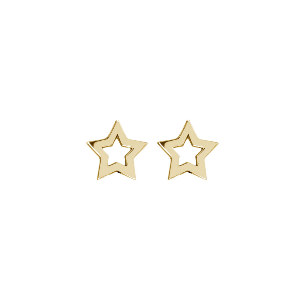 Dainty Star Studs in Yellow Gold