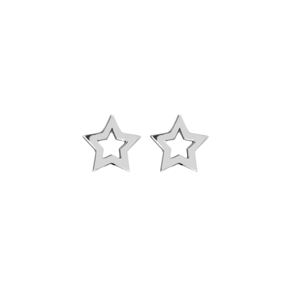 Dainty Star Studs in White Gold