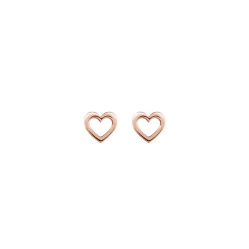 Mini Gold Heart Stud Earrings In Rose Gold