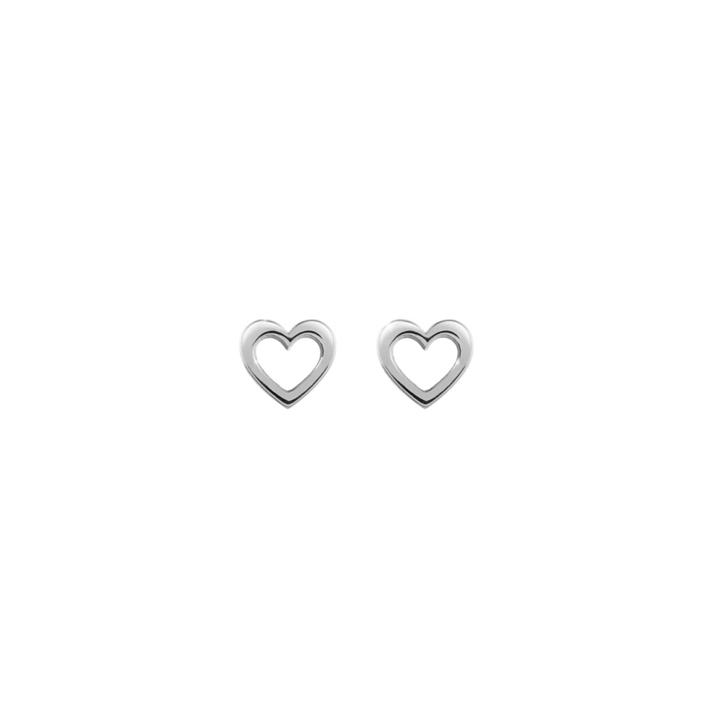 Mini Gold Heart Stud Earrings In White Gold