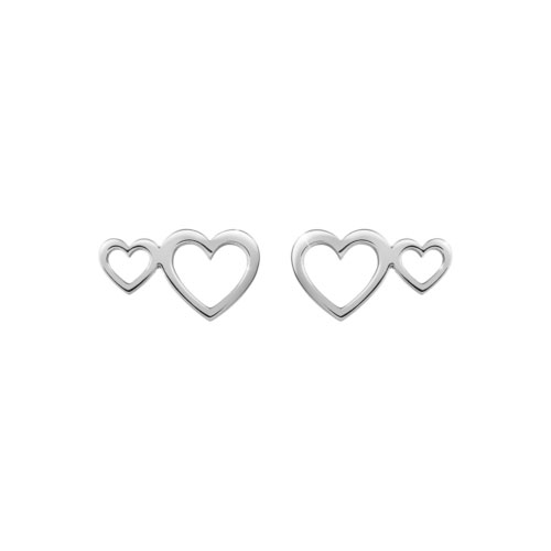 Double Heart Studs in White Gold