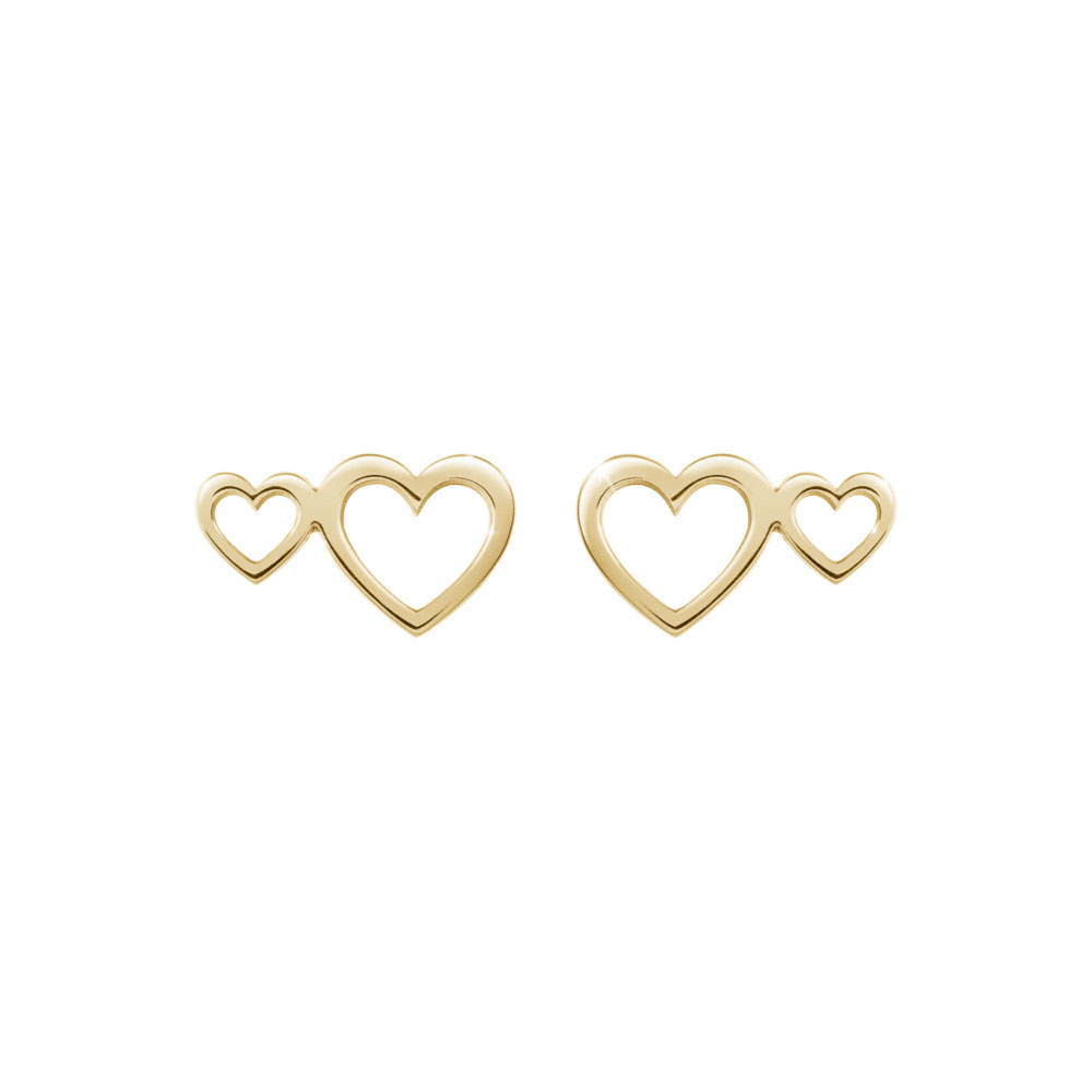 Double Heart Studs in Yellow Gold