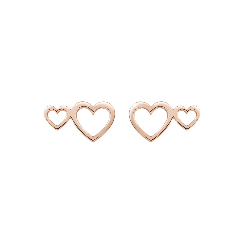 Double Heart Studs in Rose Gold