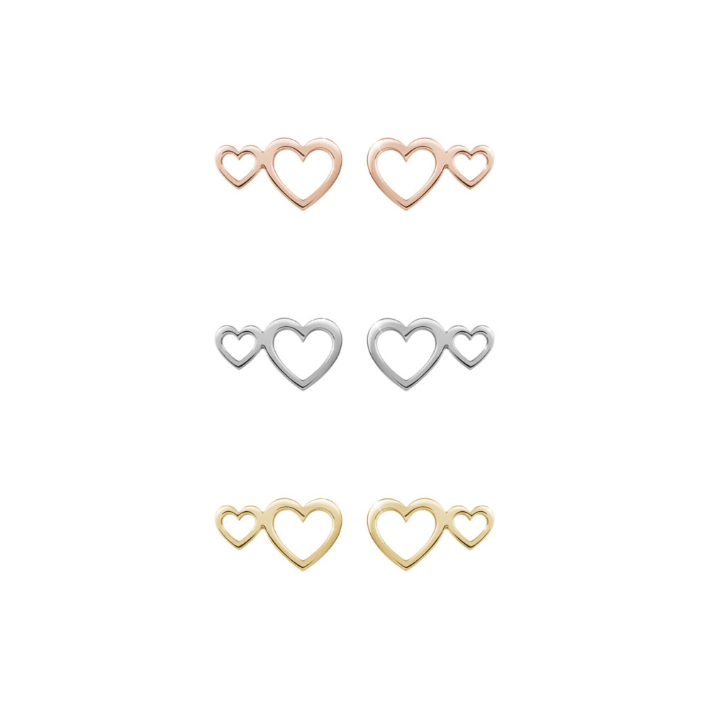 All Three Options Of The Double Heart Studs in Solid Gold