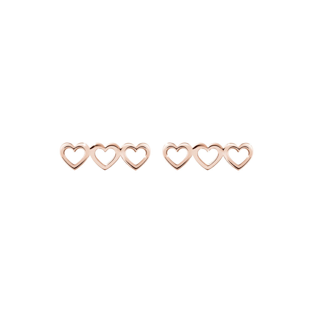 A Triple Heart Charm In Rose Gold